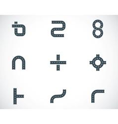 black road elements icons set vector image