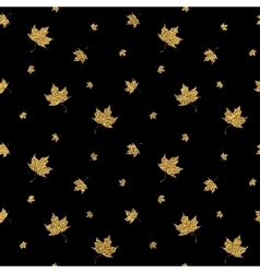 Gold leaf maple seamless pattern vector image