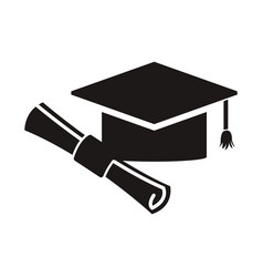 graduation hat and diploma success school icon vector image vector image