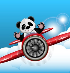 Panda on the plane vector image vector image