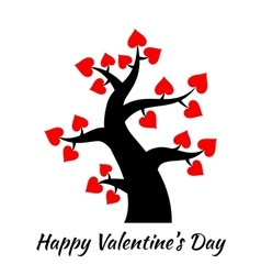 Valentines day vintage tree with hearts icons vector image vector image