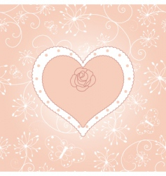 vintage floral heart with rose vector image vector image