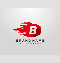 Abstract hot fire flame b letter logo design vector
