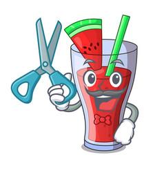 barber character tasty beverage fruit watermelon vector image