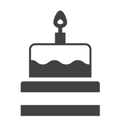 birthday cake solid icon sweet and holiday vector image