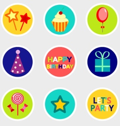 Birthday stickers set with icon vector