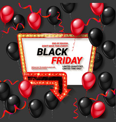 Black friday sale poster with shiny balloons vector