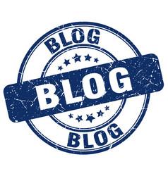 Blog blue grunge stamp vector
