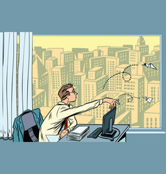 boredom at work businessman throwing paper vector image