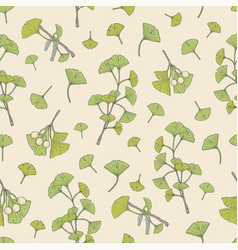 botanical seamless pattern with green ginkgo vector image