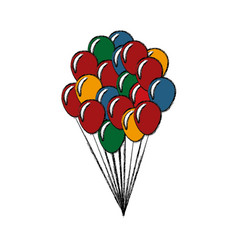 bunch balloons decoration celebration party vector image