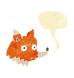 Cartoon unhappy fox with speech bubble vector