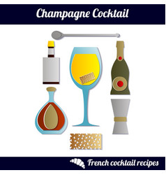 champagne cocktail infographic set isolated vector image