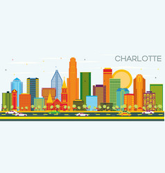 Charlotte north carolina city skyline with color vector