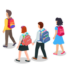 children going to school with backpacks education vector image