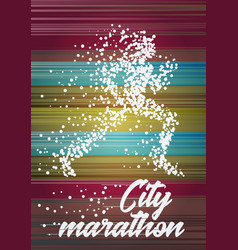 City marathon poster design concept with running vector