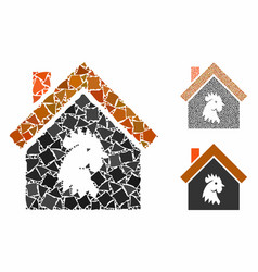 Cock house composition icon tuberous items vector