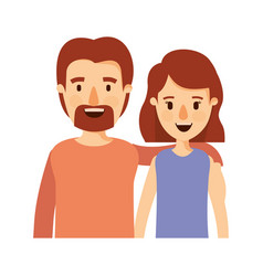 Colorful image caricature half body couple woman vector