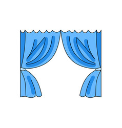 Curtain in blue on a white background vector
