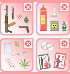 Customs prohibition icon set vector