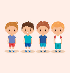 cute and little boys group vector image