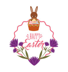 Cute bunny basket eggs purple flowers and frame vector