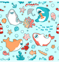 cute marine seamless pattern with kawaii sharks vector image