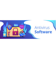 Cyber security software concept banner header vector