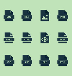 Document icons set with picture database view vector
