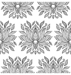 Doodle Lotus Seamless Pattern vector