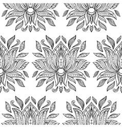 Doodle Lotus Seamless Pattern vector image