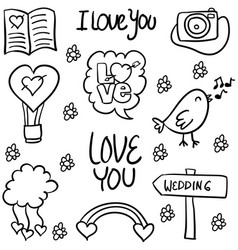 Doodle of wedding element style hand draw vector