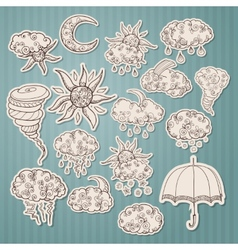 Doodle weather forecast stickers vector