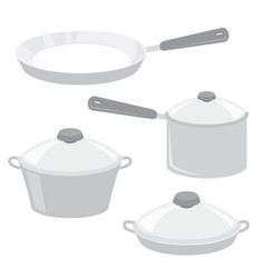 equipment kitchen cook pot pan cartoon vector image