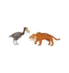 Extinct prehistoric animals with terrestrial vector