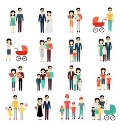 Family Set Man Woman and Child vector image