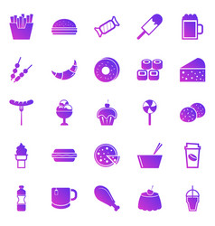 fast food gradient icons on white background vector image