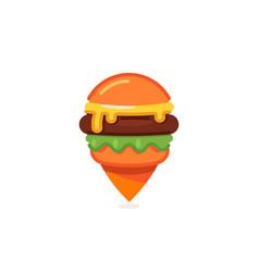 Fast food map marker icon burger restaurant pin vector