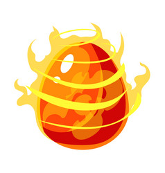 fire element egg with flames fantastic natural vector image