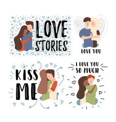 flat banner set kiss me love story vector image