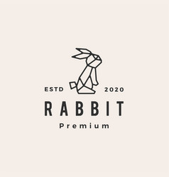 geometric rabbit hare bunny hipster vintage logo vector image