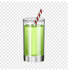 green smoothie in glass mockup realistic style vector image