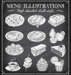 grunge chalkboard food vector image