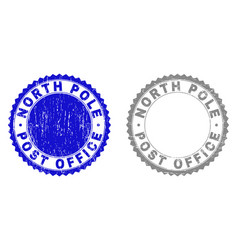 grunge north pole post office scratched stamps vector image