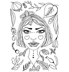 hand-drawn dreamlike girl portrait vector image