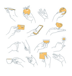 hand outline holding objects smartphone and apple vector image