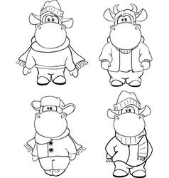 Happy cows Clip-Art Cartoon Coloring book vector image