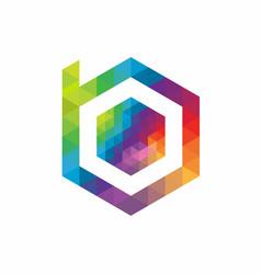 Hexagon abstract letter b logo design template vector