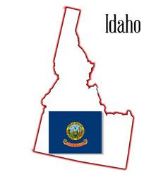 Idaho state map and flag vector