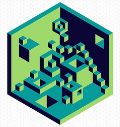 Isometric 3d cubes shape vector